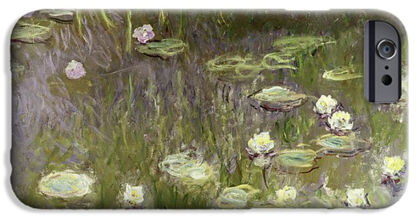 Nature Study Paintings iPhone Cases - Waterlilies at Midday iPhone Case by Claude Monet