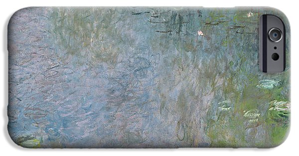 Morning Light Paintings iPhone Cases - Waterlilies Morning iPhone Case by Claude Monet