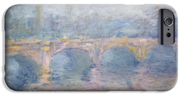 Misty Prints iPhone Cases - Waterloo Bridge London at Sunset iPhone Case by Claude Monet