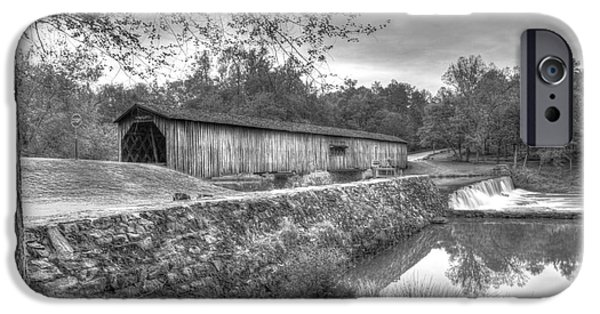 Grist Mill iPhone Cases - Watson Mill Covered Bridge 7 iPhone Case by Reid Callaway