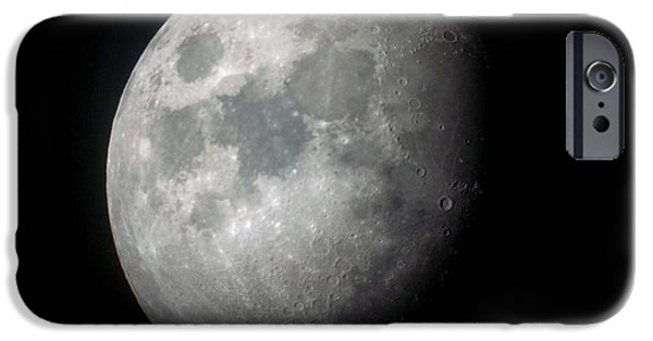 Moonscape iPhone Cases - Waxing Gibbous Moon iPhone Case by Teresa Herlinger