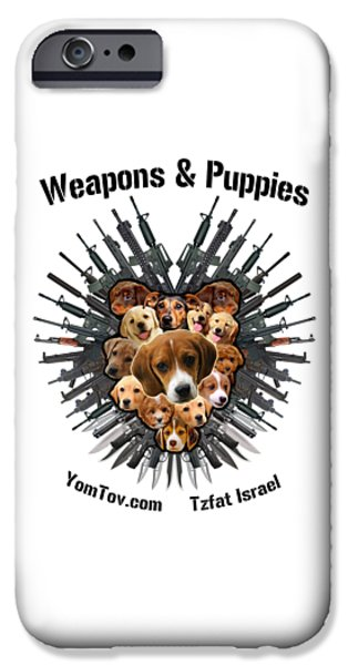 Cute Puppy iPhone Cases - Weapons And Puppies iPhone Case by Yom Tov