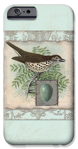 Hand-watercolored iPhone Cases - Welcome to our Nest - Vintage Bird w Egg iPhone Case by Audrey Jeanne Roberts