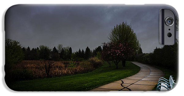 Rainy Day iPhone Cases - White Bench by Pedestrian Path iPhone Case by Donald  Erickson