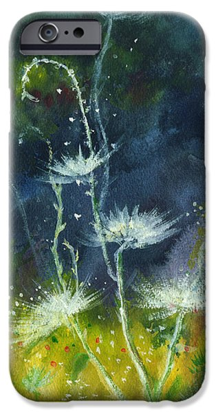 Mist Drawings iPhone Cases - White Flowers 2 iPhone Case by Anil Nene