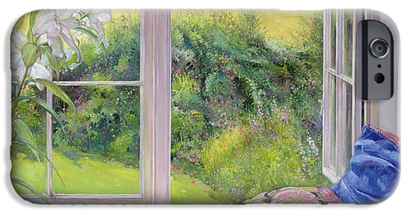 Flower Of Life Paintings iPhone Cases - Window Seat and Lily iPhone Case by Timothy Easton