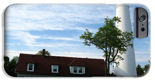 Historic Site iPhone Cases - Windpoint Lighthouse iPhone Case by Cindy Kellogg