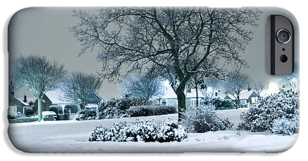 Snowy Night iPhone Cases - Winter iPhone Case by Svetlana Sewell