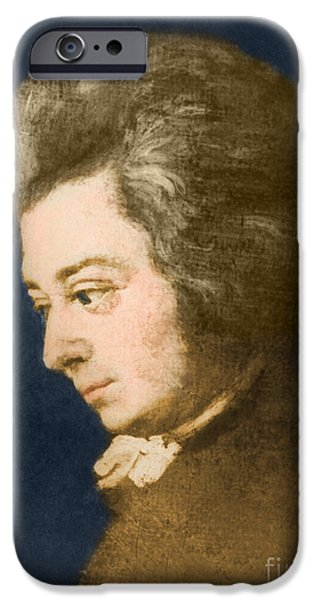 Color Enhanced iPhone Cases - Wolfgang Amadeus Mozart, Austrian iPhone Case by Omikron