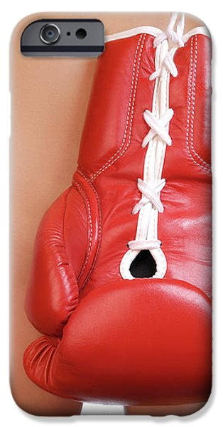 Woman with Boxing Gloves iPhone Case by Oleksiy Maksymenko