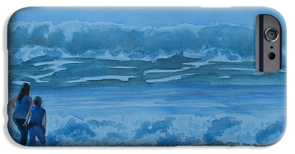 Lincoln Paintings iPhone Cases - Women in the Surf iPhone Case by Jenny Armitage