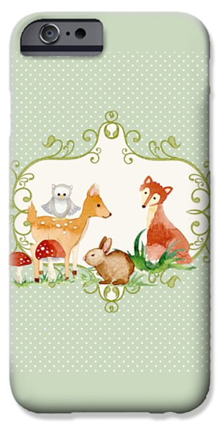 Little Girl iPhone Cases - Woodland Fairytale - Animals Deer Owl Fox Bunny N Mushrooms iPhone Case by Audrey Jeanne Roberts