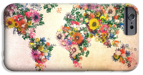 Abstract Flowers Images iPhone Cases - World Map Floral 9 iPhone Case by MB Art factory
