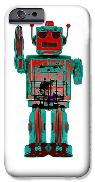 Toy Store iPhone Cases - 4N0D3 X-ray Robot Art iPhone Case by Roy Livingston