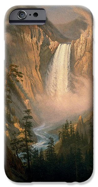 Clouds Pastels iPhone Cases - Yellowstone  Falls iPhone Case by Celestial Images
