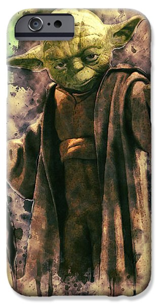 Character Portraits Digital Art iPhone Cases - Yoda iPhone Case by Taylan Soyturk