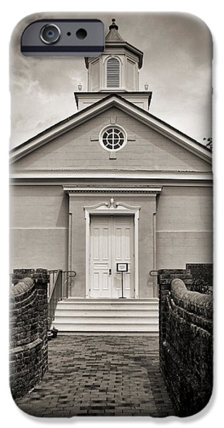 Yorktown Virginia Photographs iPhone Cases - York-Hampton Parish Church - Toned BW w border iPhone Case by Stephen Stookey