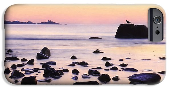 Nubble Lighthouse iPhone Cases - York Harbor at Dawn iPhone Case by Lori Deiter
