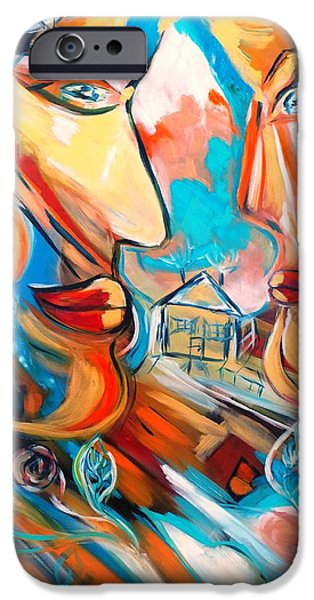 House Tapestries - Textiles iPhone Cases - You and me  iPhone Case by Agnes BARRAUD