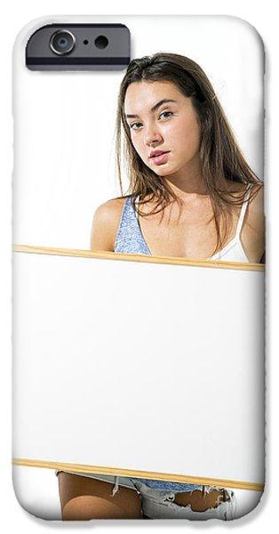 Cut-outs iPhone Cases - Young model hold a blank whiteboard iPhone Case by PhotoStock-Israel