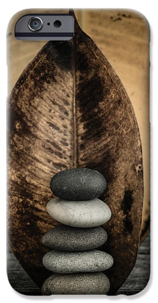 Mystic Setting Photographs iPhone Cases - Zen Stones II iPhone Case by Marco Oliveira