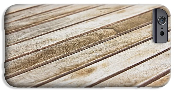 Stripes iPhone Cases - Wooden panels iPhone Case by Tom Gowanlock