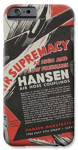 Mechanics Drawings iPhone Cases - World War II Advertisement iPhone Case by American School