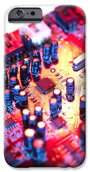 Capacitors iPhone Cases - Circuit Board iPhone Case by Tek Image