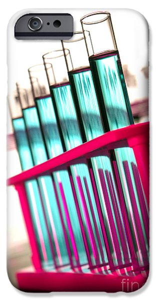 Medical Equipment iPhone Cases - Test Tubes in Science Research Lab iPhone Case by Olivier Le Queinec