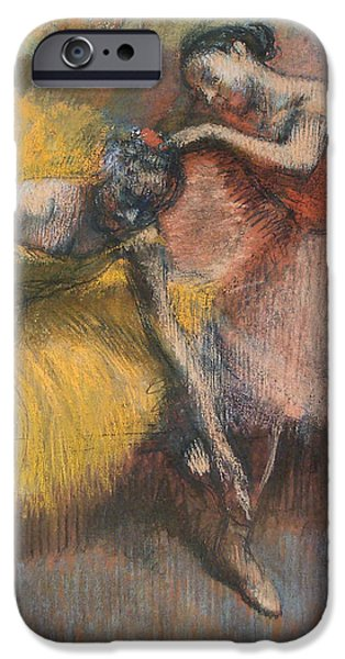 Dance Ballet Roses iPhone Cases - Two Dancers iPhone Case by Edgar Degas