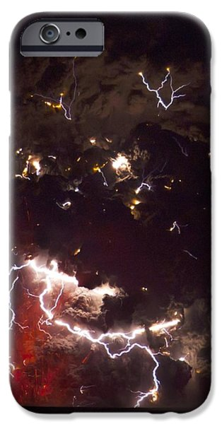 Electrical iPhone Cases - Volcanic Lightning, Iceland, April 2010 iPhone Case by Olivier Vandeginste