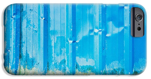 Sheets iPhone Cases - Blue metal iPhone Case by Tom Gowanlock