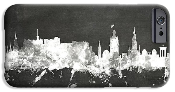 Board Digital Art iPhone Cases - Edinburgh Scotland Skyline iPhone Case by Michael Tompsett