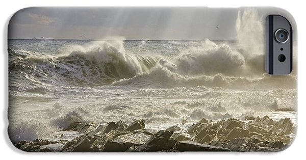 Maine iPhone Cases - Large Waves Near Pemaquid Point On The Coast Of Maine iPhone Case by Keith Webber Jr