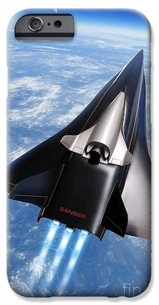 Horus iPhone Cases - Saenger Horus Spaceplane, Artwork iPhone Case by Detlev van Ravenswaay