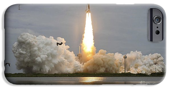 Atlantis iPhone Cases - Space Shuttle Atlantis Lifts iPhone Case by Stocktrek Images