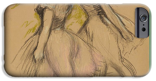 19th Century Pastels iPhone Cases - Two Dancers iPhone Case by Edgar Degas