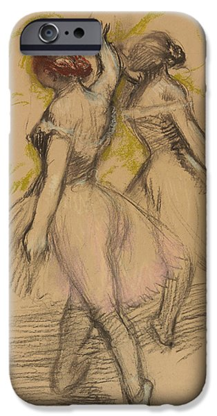 Degas iPhone Cases - Two Dancers iPhone Case by Edgar Degas