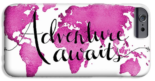 Travel iPhone Cases - 12x16 Adventure Awaits pink Map iPhone Case by Michelle Eshleman