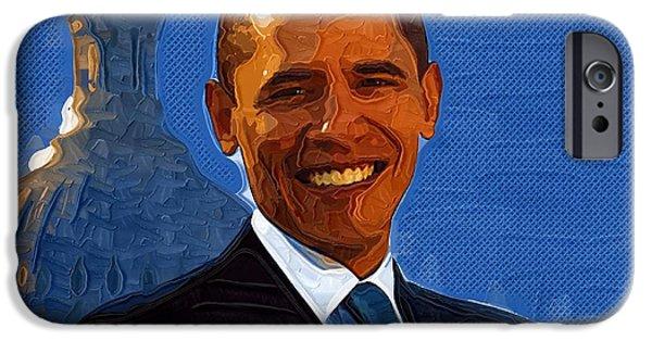 Barack Obama Art Prints iPhone Cases - Barack Obama Portrait iPhone Case by Victor Gladkiy