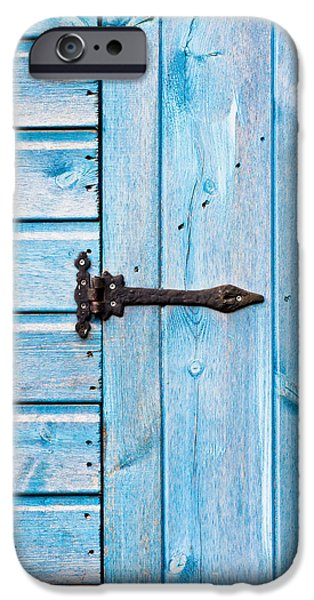 Shed iPhone Cases - Blue door iPhone Case by Tom Gowanlock