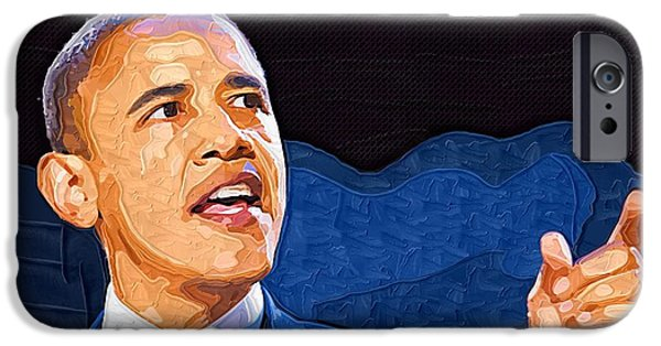 Obama iPhone Cases - Barack Obama Portrait iPhone Case by Victor Gladkiy