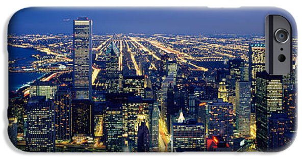 Sears Tower iPhone Cases - High Angle View Of A Cityscape iPhone Case by Panoramic Images