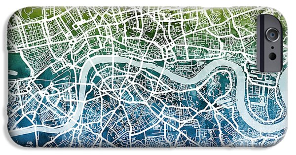 Abstract Watercolor iPhone Cases - London England Street Map iPhone Case by Michael Tompsett