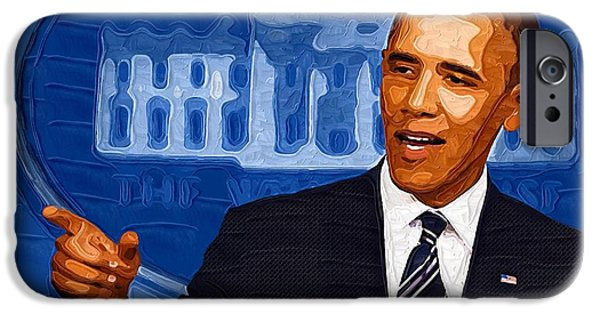 Barack Obama iPhone Cases - Barack Obama Portrait iPhone Case by Victor Gladkiy
