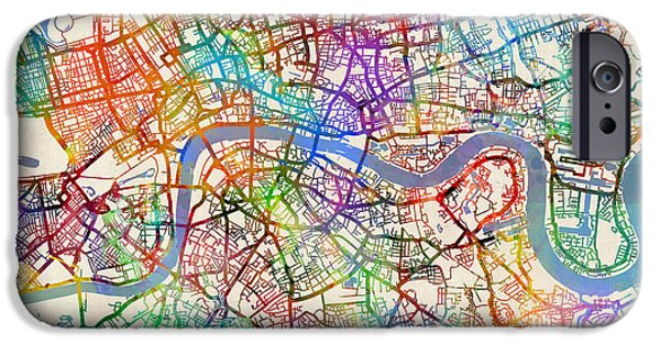 London Map iPhone Cases - London England Street Map iPhone Case by Michael Tompsett