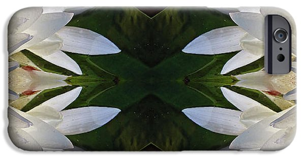 Nature Center Pond iPhone Cases - White Lotus Mandala iPhone Case by Daniel Unfried