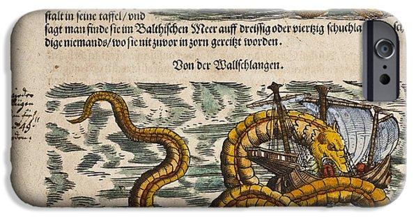 Serpent iPhone Cases - 1558 Gessner Sea Serpent Devouring A Ship iPhone Case by Paul D Stewart