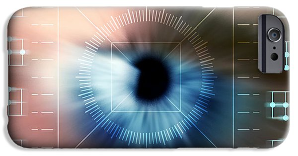 Technological iPhone Cases - Biometric Eye Scan iPhone Case by Pasieka