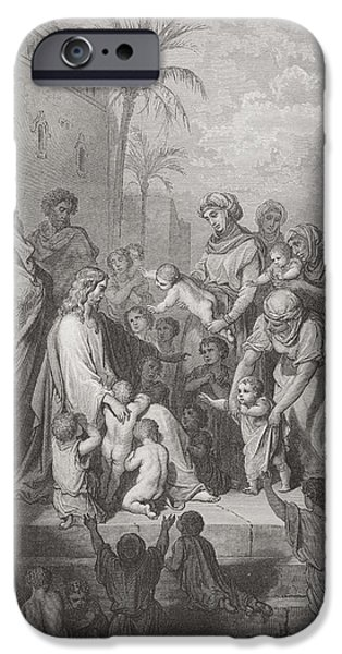 Jesus And The Children Print iPhone Cases - Engraving From The Dore Bible iPhone Case by Ken Welsh